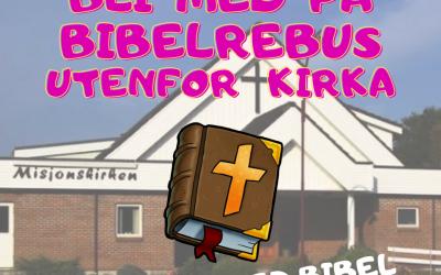 Bibelrebus utenfor kirka.